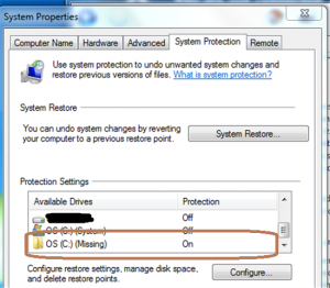 System Restore Missing Partition